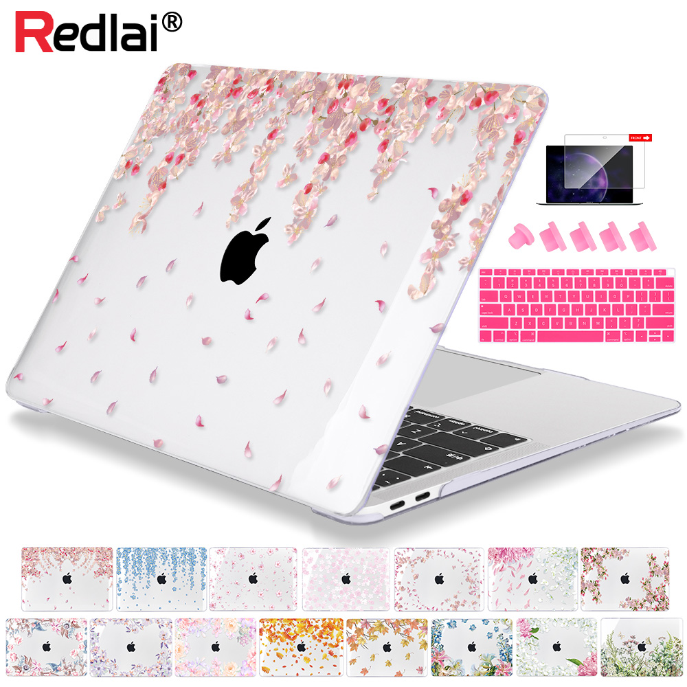 Redlai Crystal Flowers Case For MacBook Air 13 Inch A1932 Laptop Cover 2019 Pro Retina 13 15 Touch Bar A1989 A2159 Hard Shell