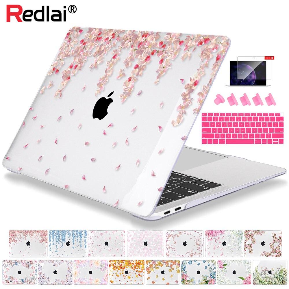 Redlai flores de cristal caso para macbook ar 13 polegada a1932 a2179 capa para portátil 2020 pro retina 13 15 16 polegada barra toque a2141 a2159