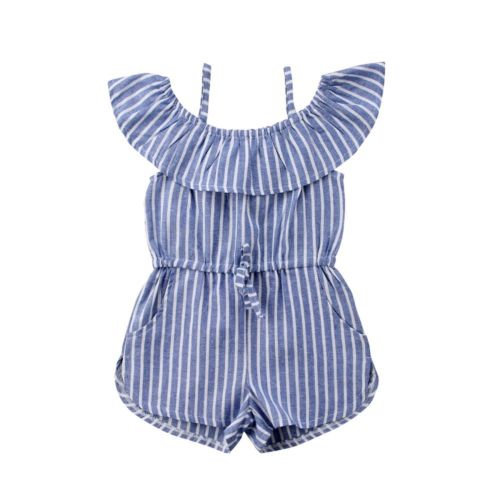 Toddler Baby Girls Clothes Stripe   Romper   Suspender Shorts Cute Casual Cotton Summer Outfit Party Girl 1-6T