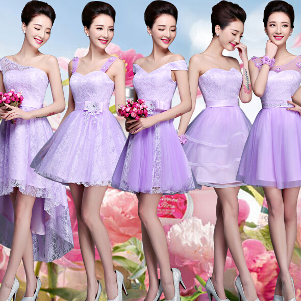 Lilac Puffy Bridesmaid Short Lavender Bridesmaides Dress Occasional Dresses Light Purple Wedding Guest Free Shipping B2708