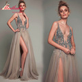 New Grey V-neck Party Dresses Women A-line Open Back Evening Gowns 2017 Elegant Sexy See Through High Split Tulle Prom Dress