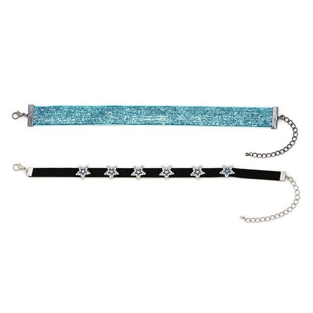 2 Colors Shiny Star rhinestone Choker necklace
