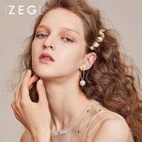 ZEGL retro temperament simple imitation pearl earrings for women fashion ear jewelry