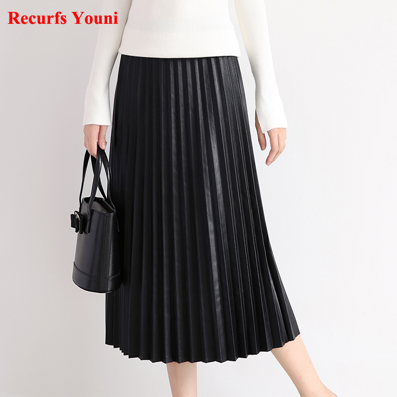 RYS7360 Women 2018 Elegant Fashion Full length Genuine Leather 75cm Long Pleated Skirt Lady Nappa Street