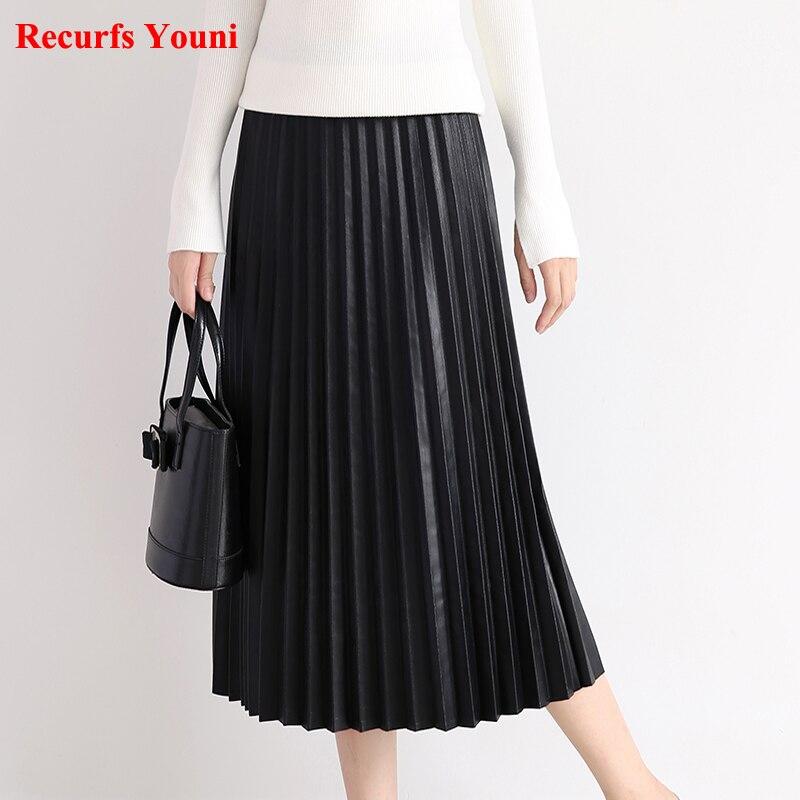 RYS7360 Vrouwen 2019 Elegante Mode Full lengte Lederen 75cm Lange Geplooide Rok Lady Nappa Straat Zwart Jupe faldas Mujer-in Rokken van Dames Kleding op  Groep 2