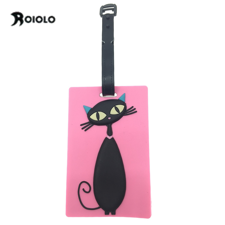 Kawaii Cat Travel Luggage Tag Cover Creative Accessories Suitcase ID Address Holder Letter Baggage Boarding Tags Portable Label