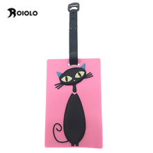 Kawaii Cat Travel Luggage Tag Cover Creative Accessories Suitcase ID Address Holder Letter Baggage Boarding Tags Portable Label(China)