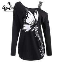 AZULINA Large Size 5XL Butterfly Musical Notes Print T Shirts Women T Shirts Long Sleeves Cold