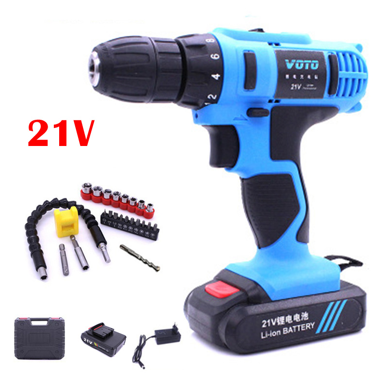 цена на 21V 2-Speed Electric Cordless Drill Electric Screwdriver Rotary Tool Mini Lithium-Ion Battery Power Tools Rechargeable Screw Gun