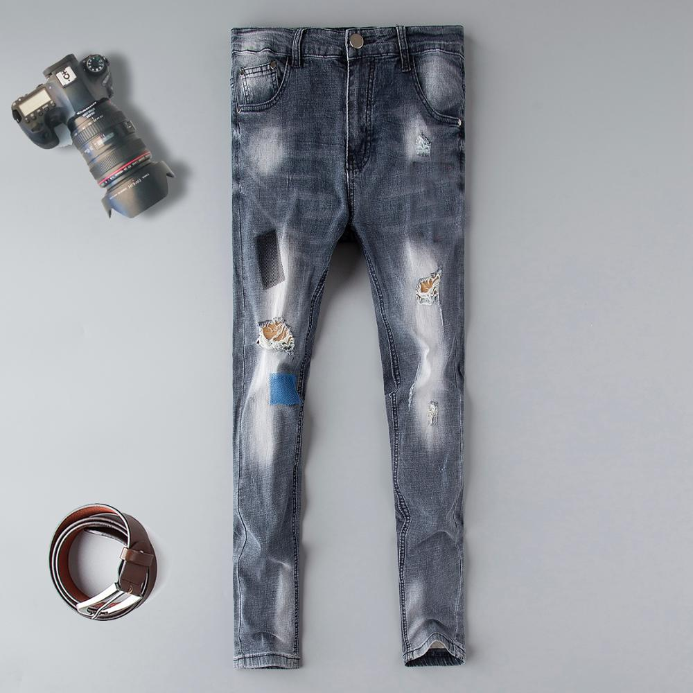 Skinny Jeans Men Top Zipper Fly 2019 New Men's Fit Embroidered Denim Pants Male Distressed Hip Hop Jean Trousers Designer Mid