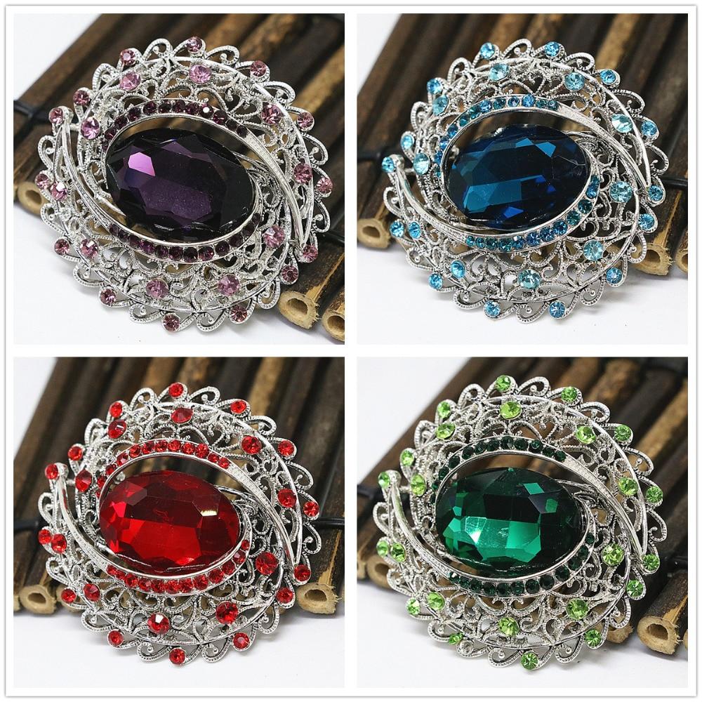 Popular oval large pins silver plated crystal wedding dress brooch rhinestone lady gift vintage jewelry B1435