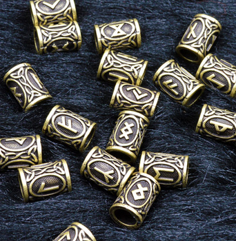 1pc Antique Bronze Norse Viking Runes Charm Beads for Bracelets for Pendant Necklace DIY for beard or hair 24 Runes for Choose image