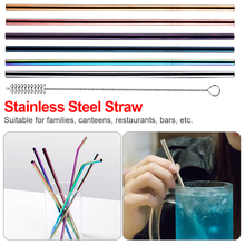 Metal Drinking Straw Reusable 304 Stainless Steel Straw  With Cleaner Brush Kit For Home Party Barware Bar 1 2 4 6 8pcs lot reusable stainless steel drinking straw metal straight curved with 1 2 3 cleaner brush kit home bar drinkware