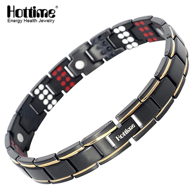 Hottime 109 PCS Bio Elements Energy Stone 3500 Gauss Magnetic Therapy Germanium Bracelet 4 IN 1 Mens Fashion Health Jewelry