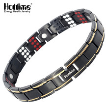 Hottime 109 PCS Bio Elements Energy Stone 3500 Gauss Magnetic Therapy Germanium Bracelet 4 IN 1 Men's Fashion Health Jewelry(China)