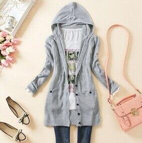 Primavera senhora de mulheres médio - longo casaco com capuz de manga comprida camisola de malha outerwear