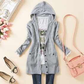 spring new arrival Lady medium-long hooded cardigan 2015 casual women's long-sleeve knitted sweater outerwear