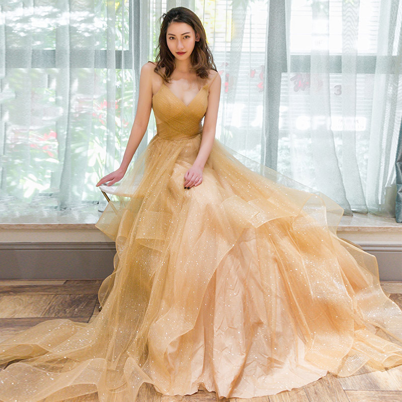 2019 New Sexy Backless Evening Dresses V NeckTulle Sleeveless Robe De Soiree Women Party Gowns Prom Dresses-in Evening Dresses from Weddings & Events    2