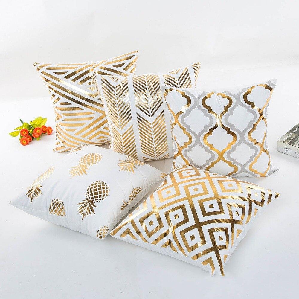 Wholesales Golden Pillow Cover Soft Velvet Cushion Cover Soft Velvet Golden Pineapple Arrow Home Decorative PillowCase 45x45cm