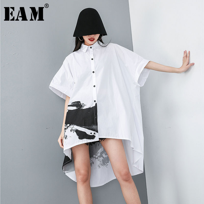 [EAM] 2020 New Spring Summer Lapel Half Sleeve White Pattern Printed Back Long Loose Big Size Shirt Women Blouse Fashion JT484