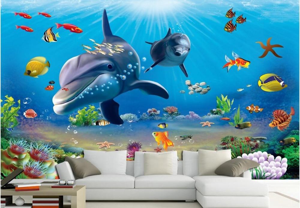 Custom photo 3d wallpaper Non woven mural sea world ...