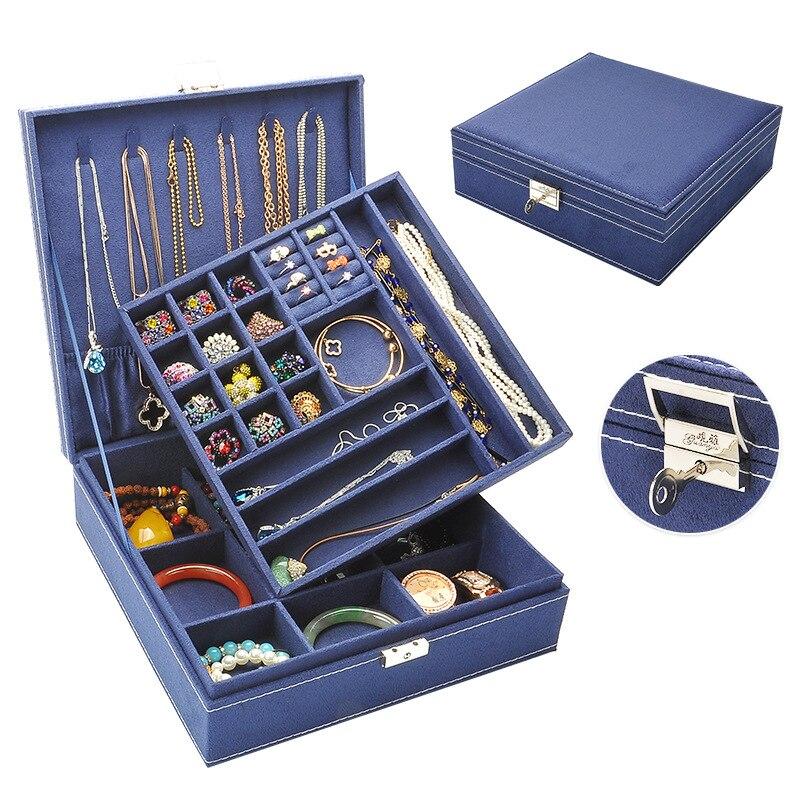 Latest fashion, flannel large square jewelry box 641-A8 jewelry box makeup organizer wholesale and retail Free shipping  makeup organizer box