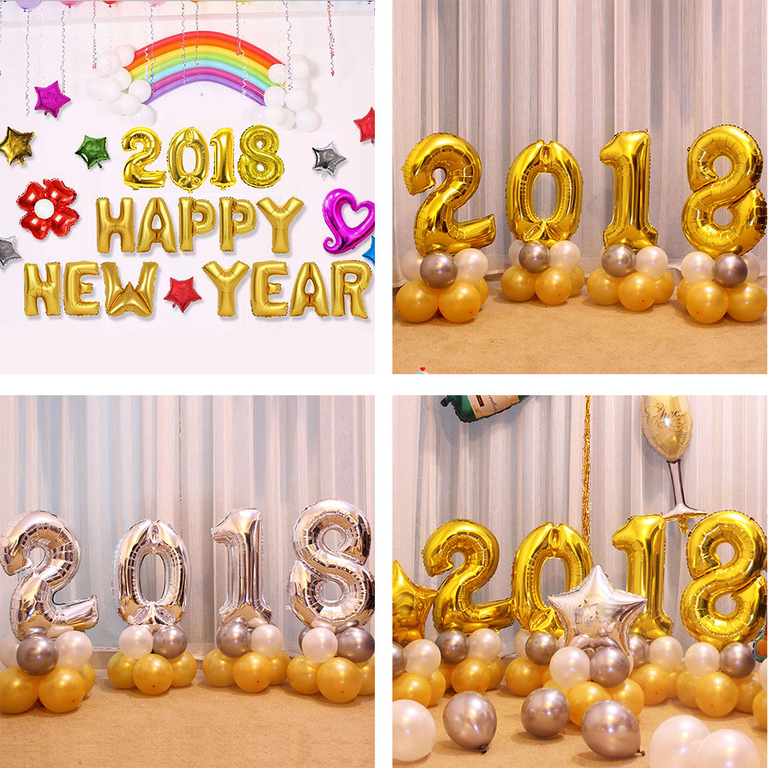 4 Pieces 2018 Number Foil Balloon Digit Air Ballon Happy ...