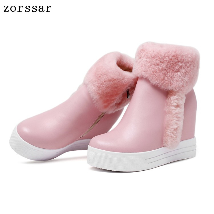 {Zorssar} 2018 winter womens snow boots Genuine Leather height increasing boots women high heel ankle boots Platform wedge shoes zorssar 2017 new winter female shoes suede platform height increasing ankle snow boots fashion buckle high heels women boots