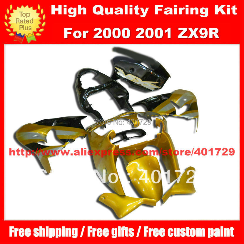 Yellow black motorcycle fairings for Kawasaki ZX-9R 2000 2001 ZX9R 00 01 free windshield motorcycle body work