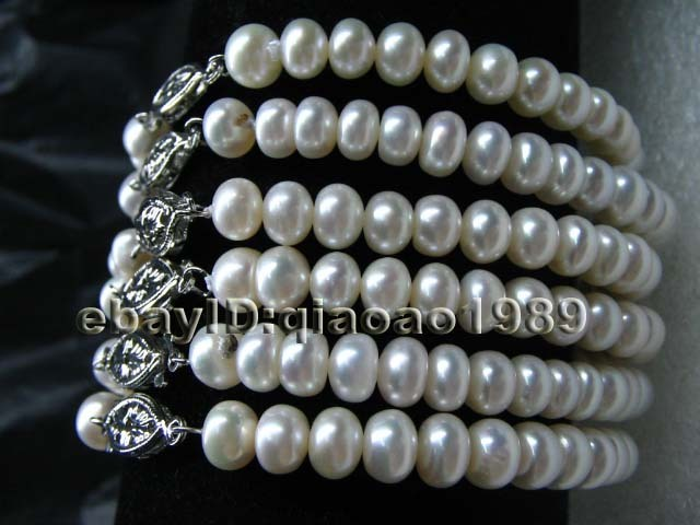 AA++ Lots of 20 strand 6-7mm bread freshwater pearl bracelets