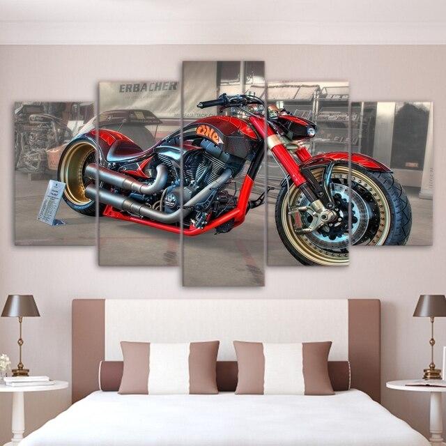 Moderne HD Gedruckt Leinwand Kunst Bilder Rahmen Poster Für Wohnzimmer Home  Decor 5 Stücke Rot Konzept