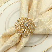 12/pcs high end restaurant table napkin ring hotel supplies gold hollow napkin buckle collar