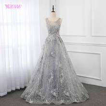2019 Vintage Silver Lace Evening Dress Ball Gown YQLNNE
