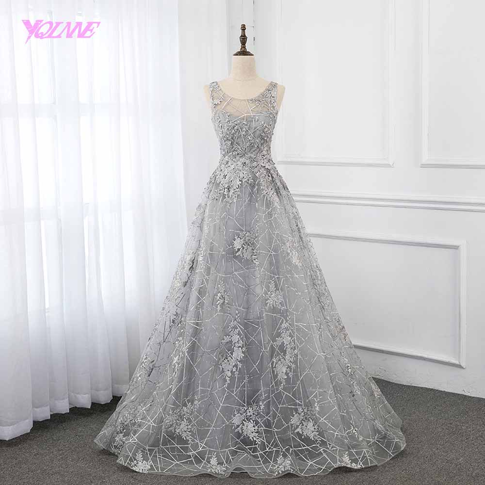 2019 Vintage Silver Lace   Evening     Dress   Ball Gown Sleeveless Formal   Dress   Backless YQLNNE
