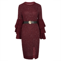 Young17 Autumn Dress Women Red Green Knitted Pullover Falbala Patchwork Flare Sleeve Plain Mid Calf Sexy