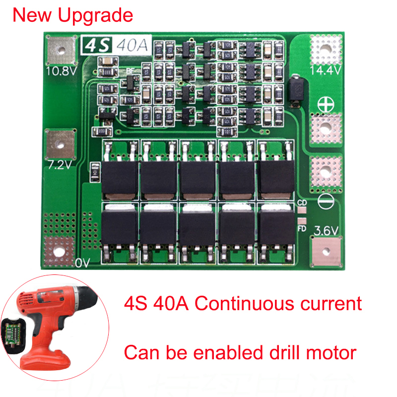 12.8V 14.4V 4S 40A 18650 LiFePO4 BMS/ Lithium Iron Battery Protection Board With Equalization Start Drill Standard