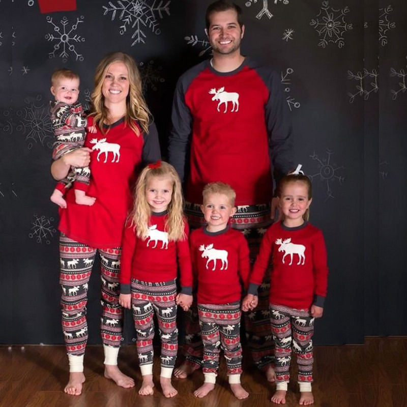 New Year's Costumes For Family Christmas Family Matching Pajamas Set Adult Kids Baby Moose Nightwear Familys Match Pyjamas Set family christmas pajamas set striped pyjamas set family look matching family christmas pajamas navidad family matching clothes