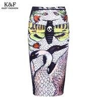 Phụ nữ Mùa Đông Printed Pencil Váy 2017 Cao Eo Stretch Empire Ống mỏng Midi Váy Saias Knee Length Chia Váy cho mùa thu