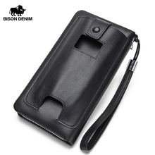 BISON DENIM Genuine Leather Wallet Men Luxury Brand Phone Wallet Zipper Coin Long Purse Large Business Male Wallet N8224