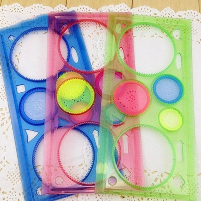Painting Multi-function Interesting Puzzle Spirograph Children Drawing Plastic Ruler Can Improve Start Work Ability YH-17