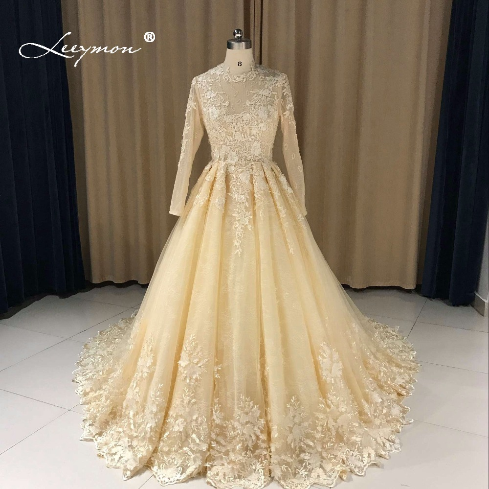 Leeymon Long Sleeves Vintage Lace Wedding Dress 2017 Romantic Gown Robe de Mariee LY7284