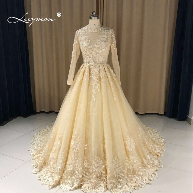 f382a62d8 Leeymon Custom Made Lace Wedding Dresses 2019 Hot Ball Gown Sexy Vestido de  Novia Long Sleeves