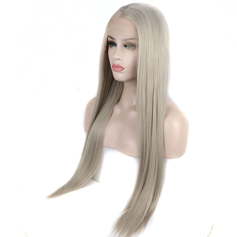 Bombshell Straight Hand Tied Synthetic Lace Front Wig Platinum Grey Heat Resistant Fiber Hair Middle Parting For White Women