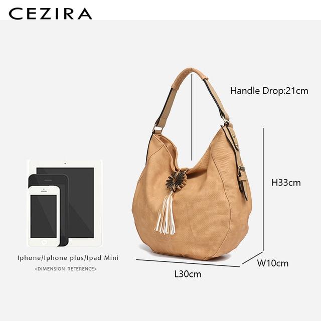 CEZIRA Womens Bag Single Shoulder Bag New Handbag of 2018 Flower Tassel Large Capacity Hobo Female Round Shoulder&Messenger Bag 5