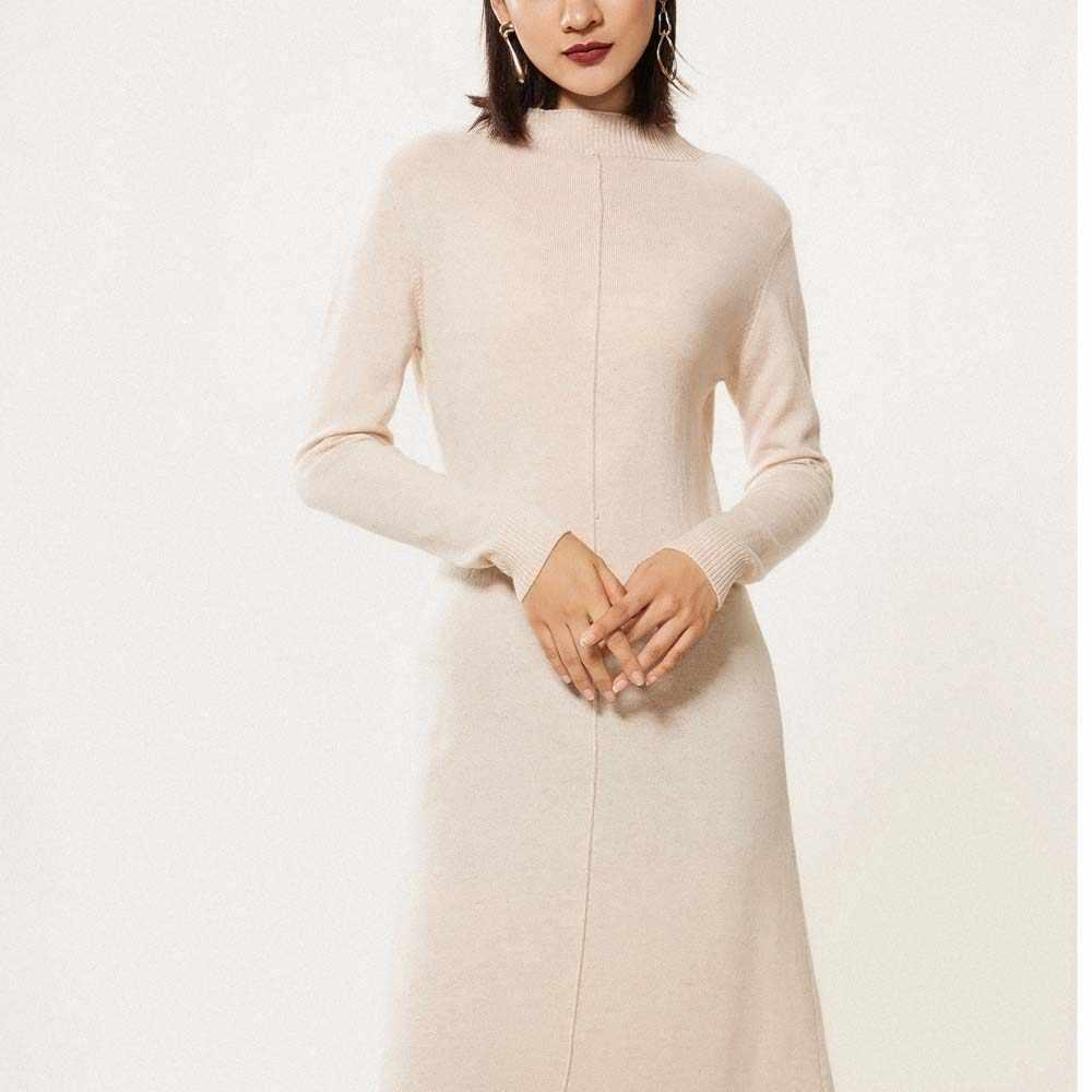 cf6525628ca ... Длинное кашемировое платье свитер для женщин High End 100% козья мягкий  уютный Половина Водолазка повседневное ...