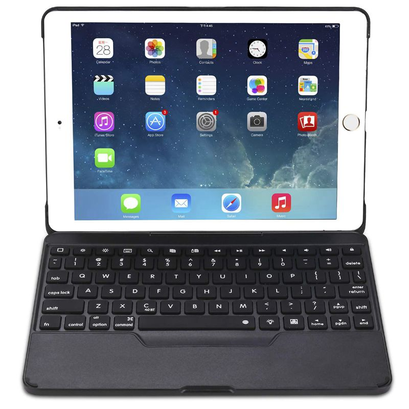 For IPad 9.7 Case With Keyboard [Detachable] For IPad Fully Protective Smart Cover, Wireless Bluetooth Keyboard [Backlit] (Bla