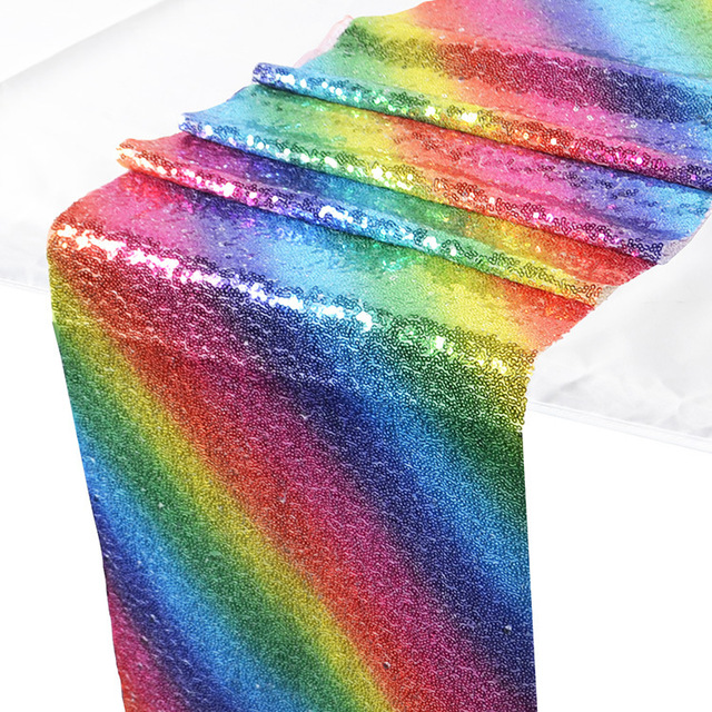 1pcs Modern Rainbow Glitter Silver Gold Sequin Decorative Table Runner for Wedding Party Decorations Dining Tablecloth