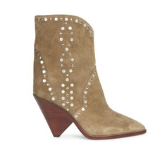 New Designer Brown Suede Studded Ankle Boots Lady Pointed Toe Spike High Heels Shoes Women Slip-on Runway Cowboy Boots For Women high heels quality designer shoes size 33 pumps ultra runway women scarpin suede 3 inch extreme super pointed toe ankle strap