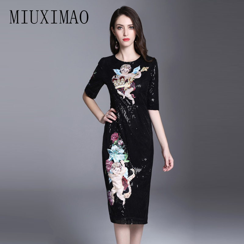 2018 Spring & Summer Latest Europe Fashion A-Line O-Neck Half Character Print Sequined Casual Elegant Mid-Calf Dress Women