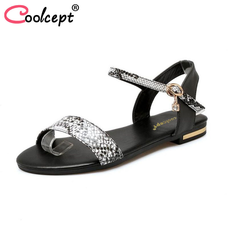 Coolcept Real Leather Sandals For Vacation Beach Women Shoes Sexy Snake Ankle Strap Buckles Open Toe Female Footwear Size 33-43 coolcept size 33 43 women real leather high heel sandals open toe ankle strap rivets summer shoes woman party club sandal